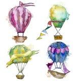 Illustration för flygtransport för fluga för bakgrund för ballonger för varm luft Royaltyfri Bild