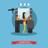 Illustration för frisyrbegreppsvektor i plan stil stock illustrationer