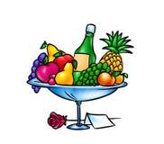 Illustration för fruktbunkegåva Fotografering för Bildbyråer