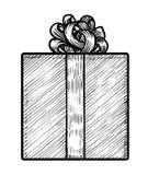 Illustration för gåvaask, teckning, gravyr, färgpulver, linje konst, vektor Vektor Illustrationer