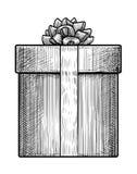 Illustration för gåvaask, teckning, gravyr, färgpulver, linje konst, vektor Stock Illustrationer