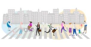 Illustration för gatafolkmassavektor Affärsman, familj, kvinna med hunden och äldre folk som går eller brådskaspring i stads- sta stock illustrationer