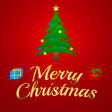 Illustration för glad jul - julträd med gåvor Fotografering för Bildbyråer