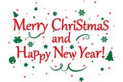Illustration för glad jul och för lyckligt nytt år arkivfoton