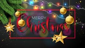 Illustration för glad jul för vektor på svart bakgrund med typografi- och feriebeståndsdelar Stjärnor sörjer filialen och stock illustrationer