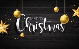 Illustration för glad jul för vektor på wood bakgrund för tappning med typografi- och feriebeståndsdelar Stjärnor och
