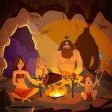 Illustration för grottmänniskafamiljtecknad film arkivfoto