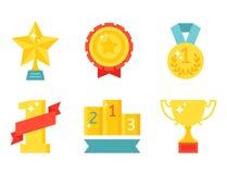Illustration för guld- för utmärkelse för vinnare för symbol för lägenhet för kopp för vektortrofémästare guld- för pris för spor stock illustrationer