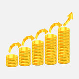 Illustration för guld- mynt för design Arkivbild