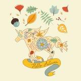 Illustration för häst för enhörning för Hello höst blom- Arkivbilder