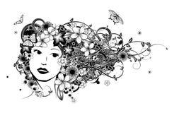 Illustration för hårkvinnamode stock illustrationer