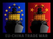 Illustration för handelkrig mellan europeisk union och Kina vektor illustrationer