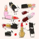 Illustration för handteckningsvektor med läppstift stock illustrationer
