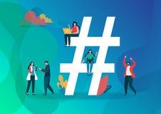 Illustration för Hashtag symbolvektor Grupp människor på socialt massmedia Plan grafisk design för tecknad filmtecken vektor illustrationer