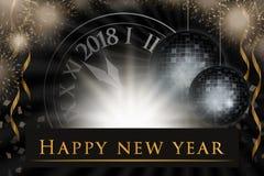 Illustration för helgdagsafton för ` s för nytt år, berömbakgrund med 2018 klocka, partifyrverkerier Royaltyfri Bild