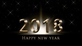 Illustration för helgdagsafton för ` s för nytt år 2018, kort med guld- 2018 och text för lyckligt nytt år på svart bakgrund Arkivfoton