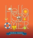 Illustration för Hello sommartypografi Royaltyfria Bilder