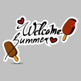 Illustration för Hello sommarvektor Sommarmat blåa pojkeskrivbordflickor ser sittande surfa för havet Summe stock illustrationer