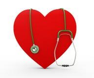 illustration för hjärta 3d och stetoskop Royaltyfri Bild