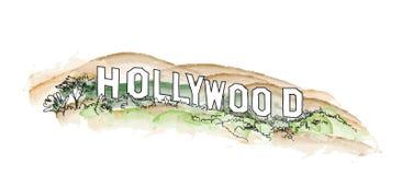 Illustration för Hollywood teckenvattenfärg Hollywood kullelandskap stock illustrationer