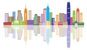Illustration för Hong Kong City Skyline Color panoramavektor Royaltyfri Foto
