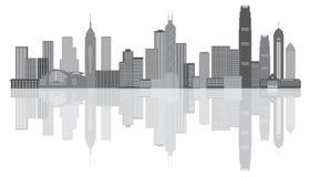 Illustration för Hong Kong City Skyline Grayscale panoramavektor Royaltyfria Bilder