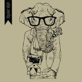 Illustration för indisk elefant för Hipster tecknad handvektor Arkivbild