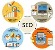 Illustration för Infographic lägenhetbegrepp av SEO Arkivbilder