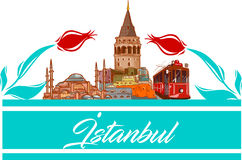 Illustration för Istanbul symbols- och formvektor Stock Illustrationer