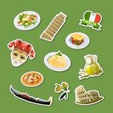 Illustration för italienska för kokkonst för vektortecknad film fastställd klistermärkear för beståndsdelar stock illustrationer