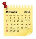 Illustration för Januari 2018 kalendervektor stock illustrationer