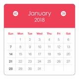 Illustration för Januari 2018 kalendervektor royaltyfri illustrationer