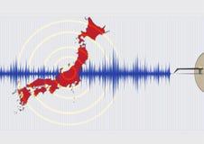 Illustration för Japan jordskalvbegrepp Arkivbild