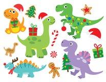 Illustration för juldinosaurievektor stock illustrationer