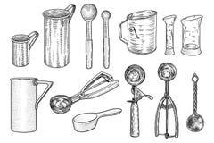 Illustration för kökredskapuppsättning, teckning, gravyr, linje konst Vektor Illustrationer