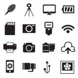 Illustration för kamerasymbols- och för kameratillbehörsymboler vektor Royaltyfri Bild