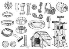 Illustration för katttygleksak, teckning, gravyr, färgpulver, linje konst, illustration för vectorPetleksaksamling, teckning, gra royaltyfri illustrationer