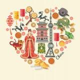 Illustration för Kina loppvektor Kinesuppsättningen med arkitektur, mat, dräkter, traditionella symboler i tappning utformar Kine Royaltyfri Foto