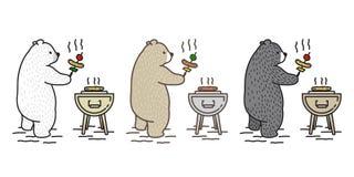 Illustration för klotter för lopp för galler för grillfest för picknick för tecken för tecknad film för symbol för björnvektorisb stock illustrationer