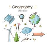 Illustration för klotter för vektorskolageografi vektor illustrationer