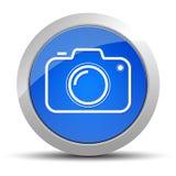Illustration för knapp för kamerasymbol blå rund vektor illustrationer