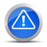 Illustration för knapp för varningssymbol blå rund stock illustrationer