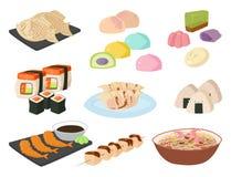 Illustration för kokkonst för traditionell för mål för Japan vektormat för matlagning för kultur rulle för sushi och för havs- lu stock illustrationer