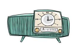 Illustration för konst för tappninggräsplanradio gullig hand dragen Arkivbild