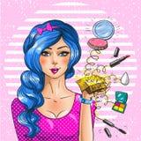 Illustration för konst för pop för tappning för vektor för makeupkonstnär royaltyfri illustrationer