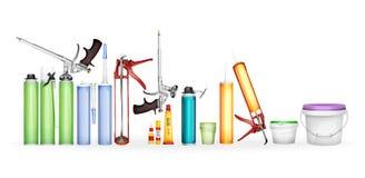 Illustration för konstruktionsskum-, silikontätningsmedel-, lim- och målarfärgvektor av den realistiska modellen för flaskor 3D o Royaltyfria Foton