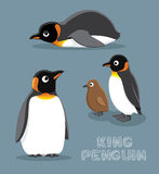 Illustration för konung Penguin Cartoon Vector Royaltyfria Bilder
