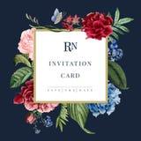 Illustration för kort för bröllopinbjudan blom- stock illustrationer