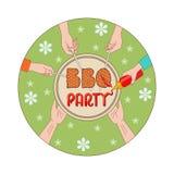Illustration för kort för BBQ-partiinbjudan Royaltyfria Bilder