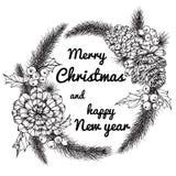 Illustration för kransblommateckning för `-dag för glad jul Royaltyfria Bilder